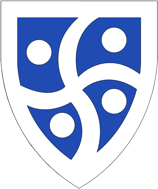 [Azure, a cross arrondi between four roundels, a bordure argent]