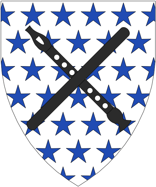 [Argent mullety azure, a recorder and a staff in saltire sable]