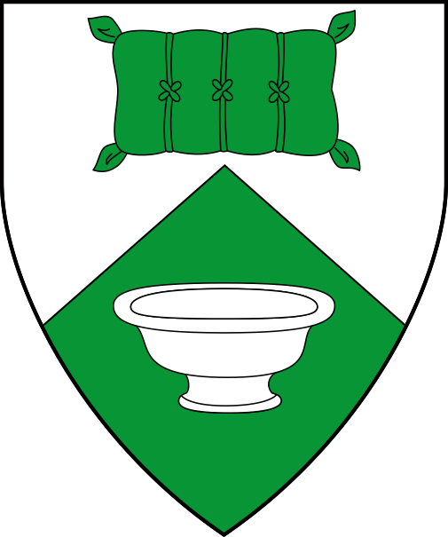 [Per chevron argent and vert, a bag of madder and a bowl counterchanged]