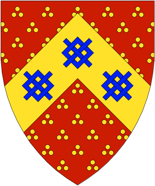 [Gules estencely, on a chevron Or three frets couped azure.]