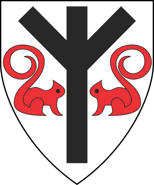 [Argent, an algiz rune sable between two squirrels statant respectant gules.]