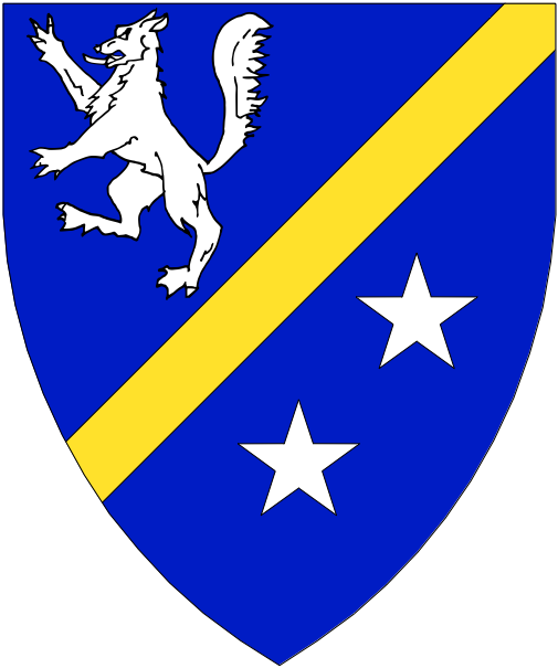 [Azure, a bend sinister Or between a wolf rampant and two mullets argent.]