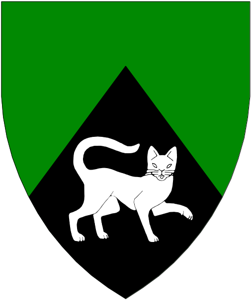 [Per chevron vert and sable, in base a domestic cat passant gardant contourny argent.]