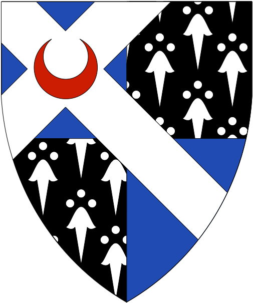 [Quarterly azure and counter-ermine, on a Latin saltire throughout argent a crescent fesswise gules	  ]