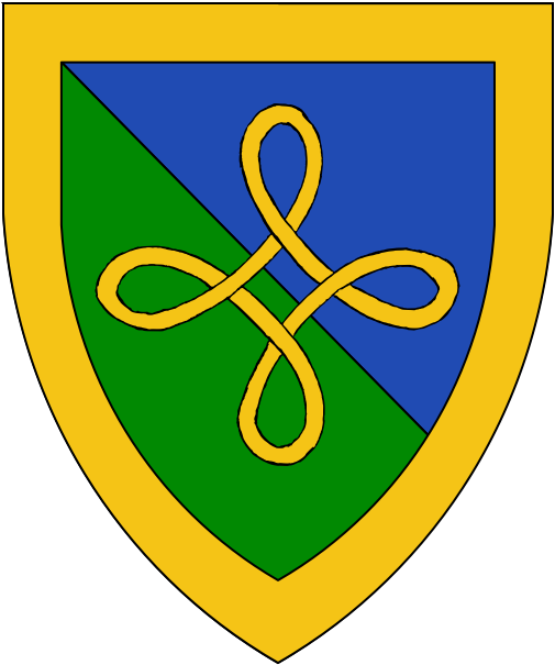 [Per bend azure and vert, a Bowen knot within a bordure Or	  ]