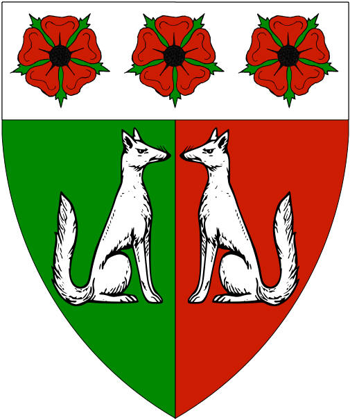 [Per pale vert and gules, two foxes sejant respectant on a chief argent three roses proper seeded sable.	  ]