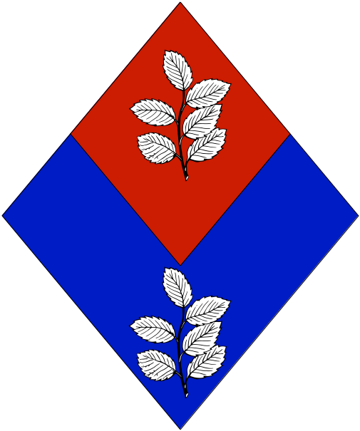 [Per chevron inverted azure and gules, in pale two sprigs of mint argent.]