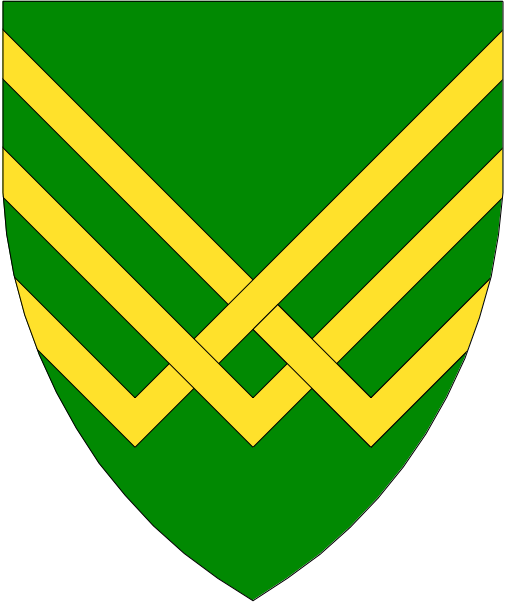 [Vert, three chevronels braced inverted Or]