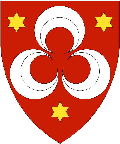 [Gules, three crescents in pall inverted horns to center argent between three mullets of six points Or]