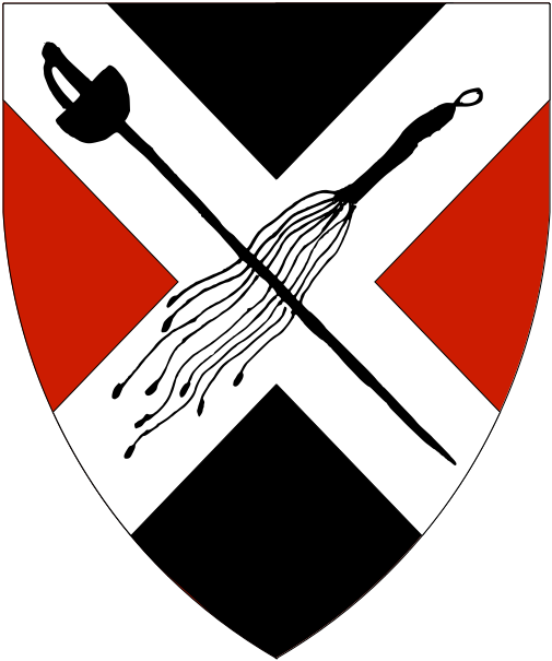 [Per saltire sable and gules, on a saltire argent a rapier and a scourge of nine lashes in saltire both inverted sable.  ]