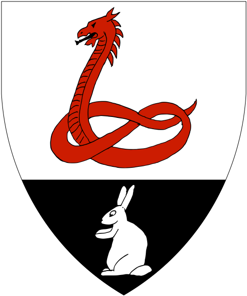 [Argent, a serpent erect tail nowed gules, on a base sable a rabbit sejant erect argent.]