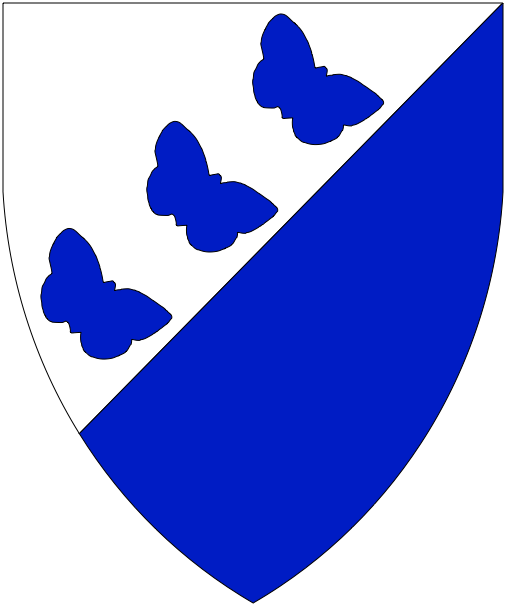 [	Per bend sinister argent and azure, in bend sinister three butterflies bendwise sinister azure.  ]