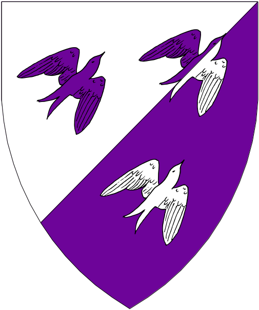 [Per bend sinister argent and purpure, three swallows volant to sinister chief two and one counterchanged.]