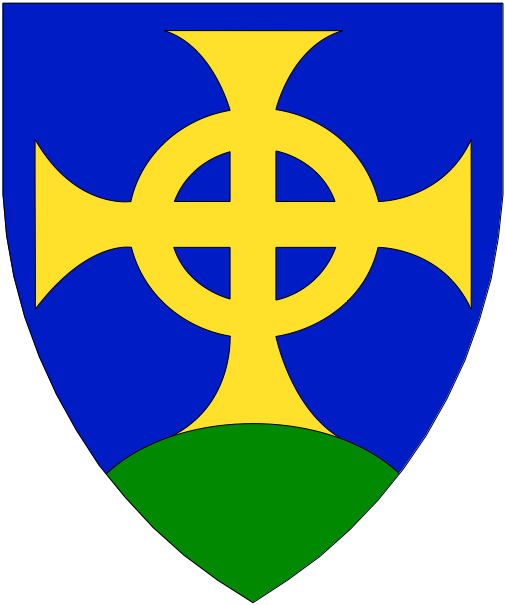 [Azure, an equal-armed Celtic cross formy Or issuant from a mount vert]