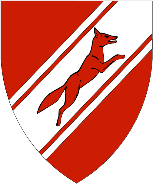 [Gules, on a bend sinister cotised argent a fox courant contourny gules]