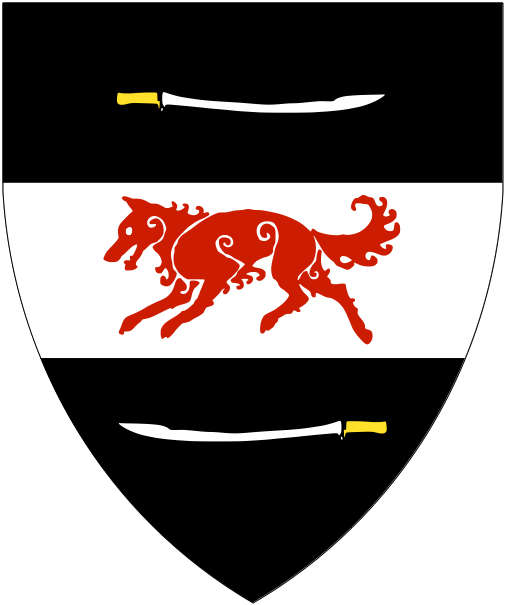 [Sable, on a fess argent between a scimitar fesswise reversed and a scimitar fesswise proper, a wolf courant gules.    ]