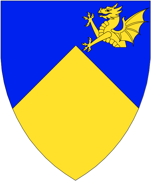 [Per chevron azure and Or, in sinister chief a demi-dragon Or]