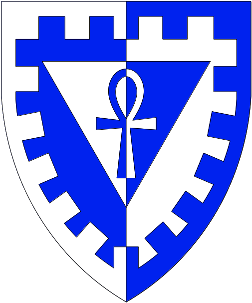 [Per pale azure and argent, on a triangle inverted an ankh, a bordure embattled, all counterchanged]