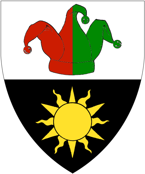 [Per fess argent and sable, a fool's hat per pale gules and vert, and a sun Or]