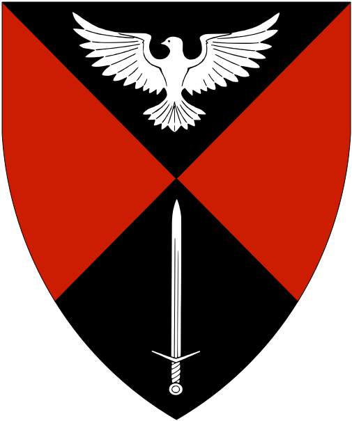 [Per saltire sable and gules, in pale a dove displayed and a sword argent.	  	  ]