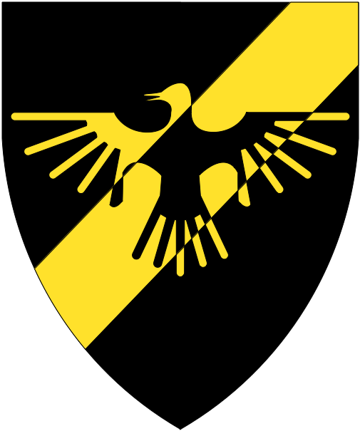 [Sable, a bend sinister Or, and overall a raven displayed counterchanged]
