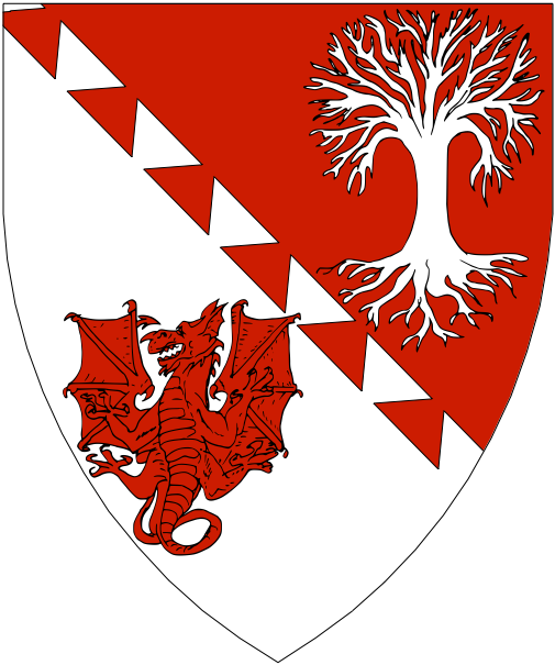 [Per bend dovetailed gules and argent, an oak tree blasted and eradicated and a dragon displayed counterchanged.]