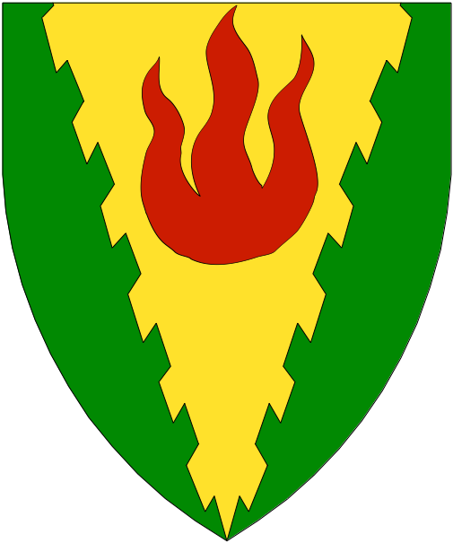 [Vert, on a pile raguly throughout Or a flame gules.]