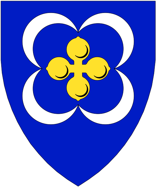 [Azure, a quatrefoil Or between four crescents conjoined in saltire at the points argent.	  	  	  	  ]