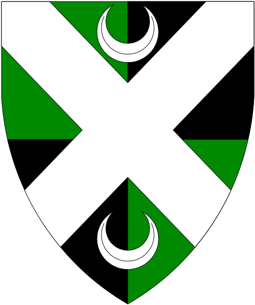 [Quarterly vert and sable, a saltire between in pale two crescents argent.]