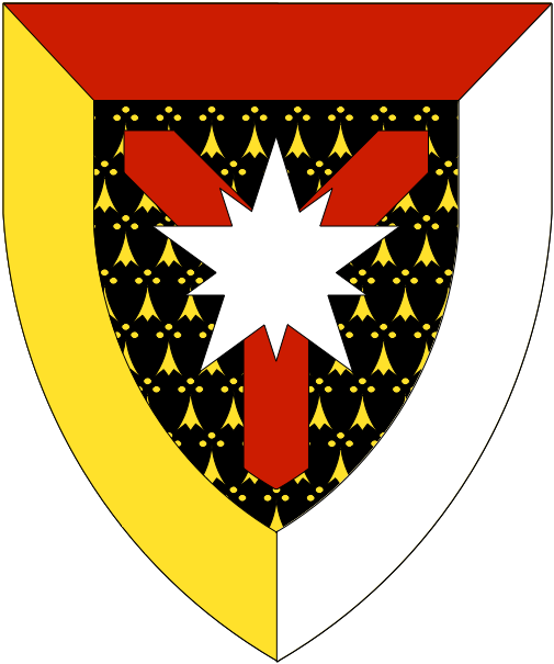[Pean, a shakefork gules surmounted by a mullet of five greater and five lesser points argent, all within a bordure tierced per pall gules, Or and argent]