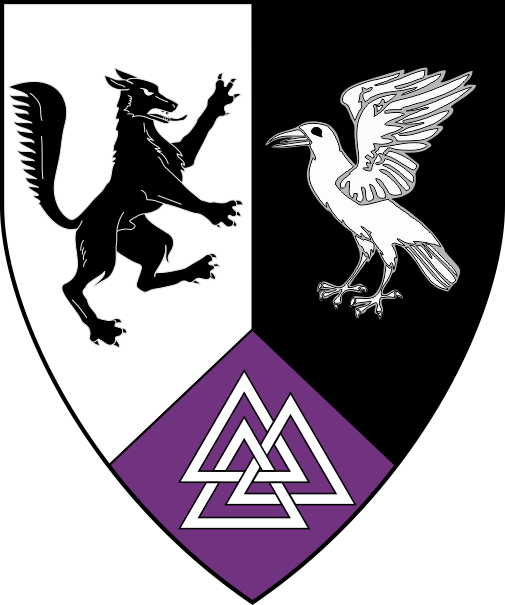 [Per pale argent and sable, a wolf rampant contourny and a raven rising counterchanged, on a point pointed purpure a valknut argent]