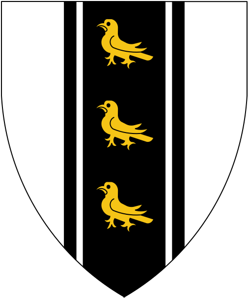 [Argent, on a pale cotised sable three martlets Or.]