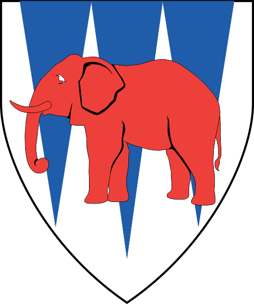 [Argent, three piles palewise azure, overall an elephant gules. ]