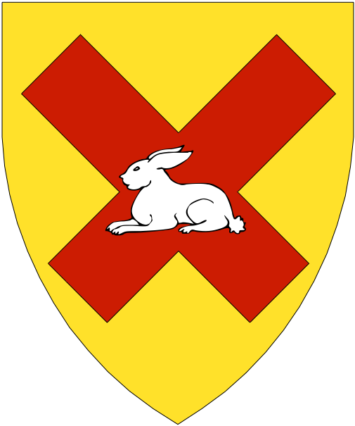 [Or, on a saltire couped gules a rabbit couchant argent.