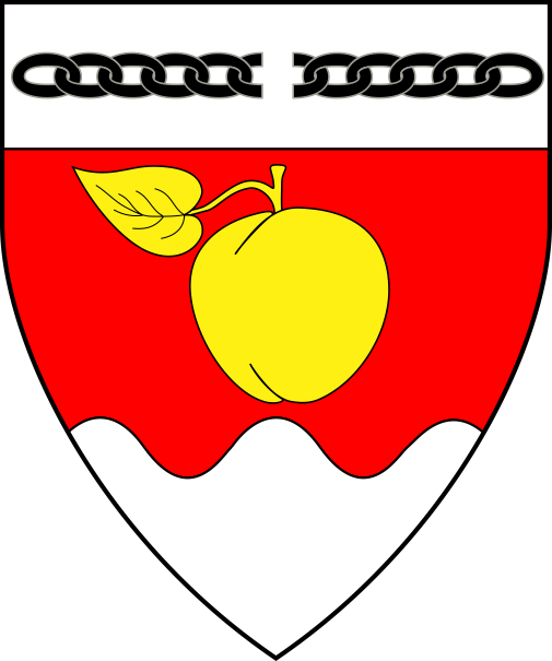 [Gules, a plum slipped and leaved Or and a base wavy, on a chief argent a broken chain sable.]