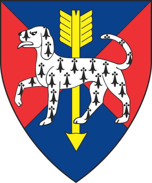 [Per saltire azure and gules, an arrow palewise Or and overall a hound passant ermine]