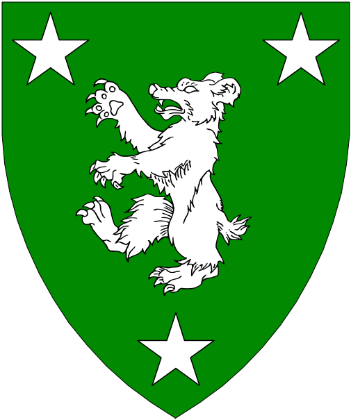[Vert, a bear rampant between three mullets argent.]