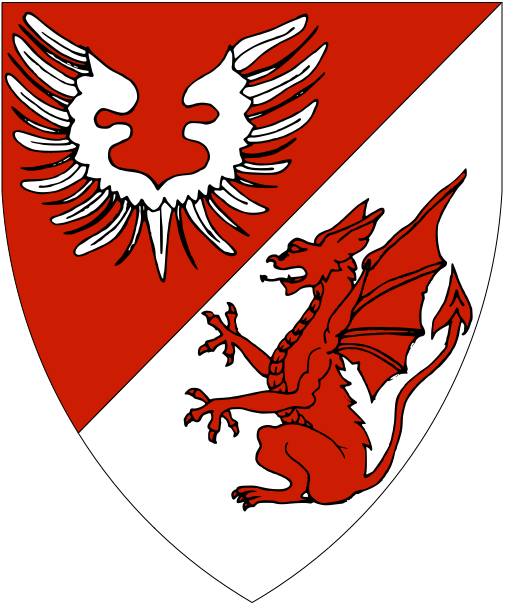 [Per bend sinister gules and argent, a vol and dragon sejant erect counterchanged]