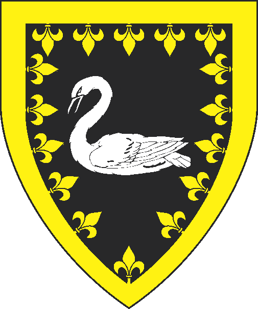 [Sable, a swan naiant argent and a bordure fleury Or]
