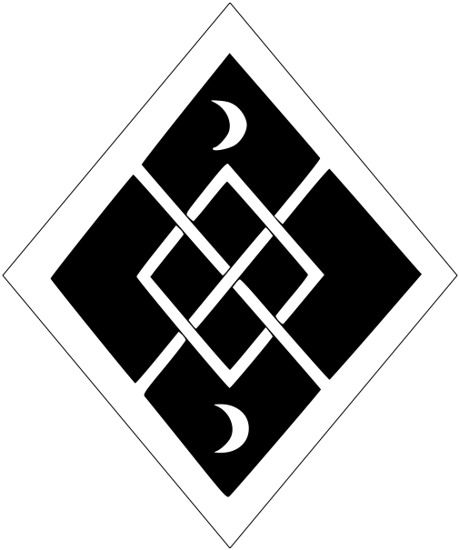 [Sable, a fret between in pale two increscents, a bordure argent.]