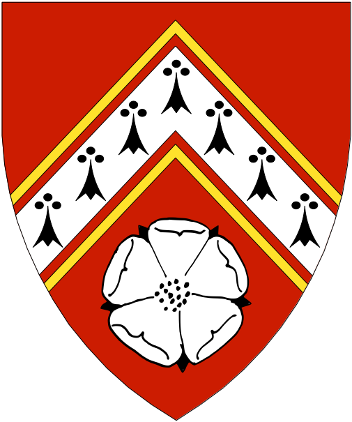 [	  Gules, a chevron ermine cotised Or and in base a rose argent, barbed and seeded sable.]