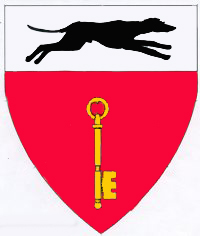 [Gules, a key palewise, wards to sinister base Or, on a chief argent a greyhound courant contourny sable.	  	  ]