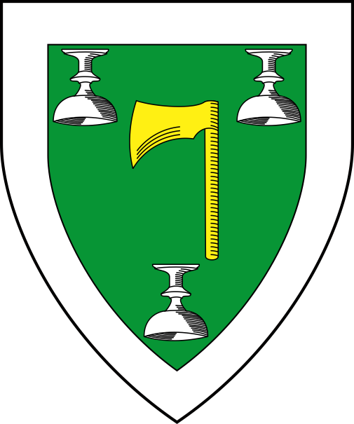 [Vert, an axe Or between three cups inverted, a bordure argent.  ]