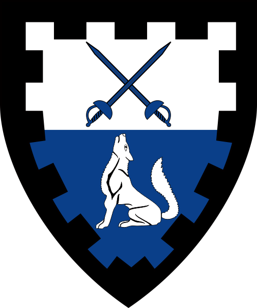 [Per fess argent and azure, two rapiers in saltire and a wolf sejant counterchanged within a bordure embattled sable]