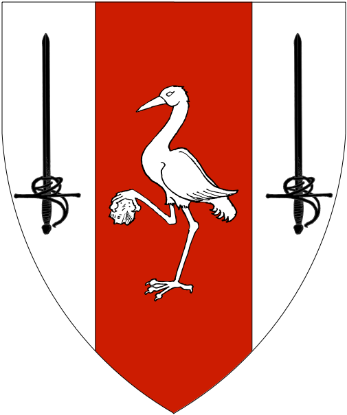 [Argent, on a pale gules between two rapiers sable a crane in its vigilance argent.]
