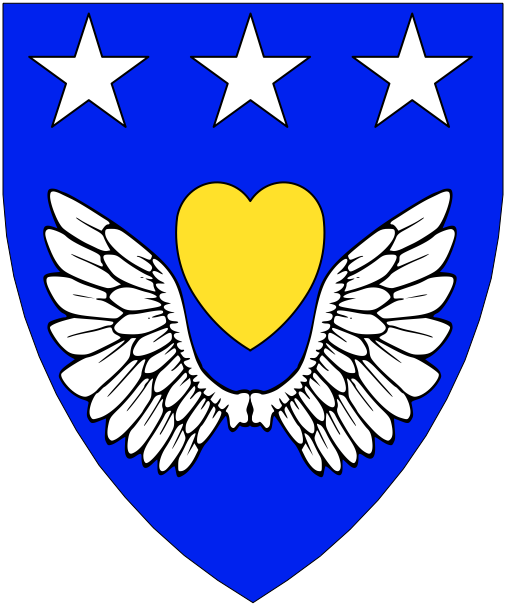 [Azure, a heart Or within a pair of wings conjoined, in chief three mullets argent.]