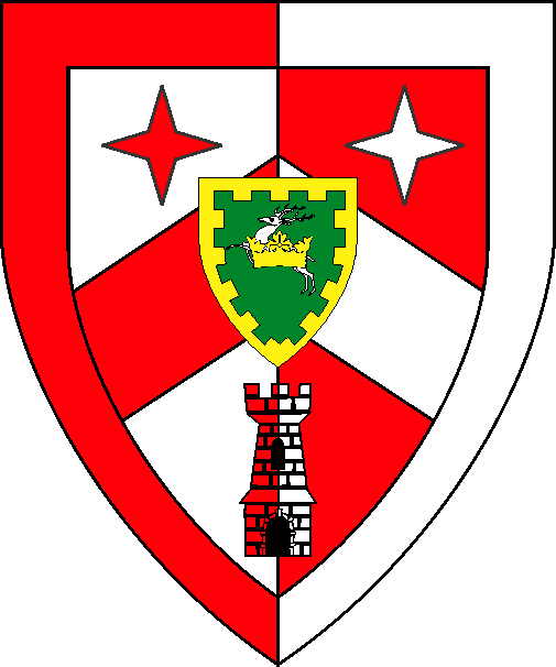 [Per pale argent and gules, a chevron between two mullets of four points and a tower, all within a bordure counterchanged, as an augmentation, surmounting the chevron, on an inescutcheon vert, a stag salient argent, surmounted by a ducal coronet, a bordure embattled Or]