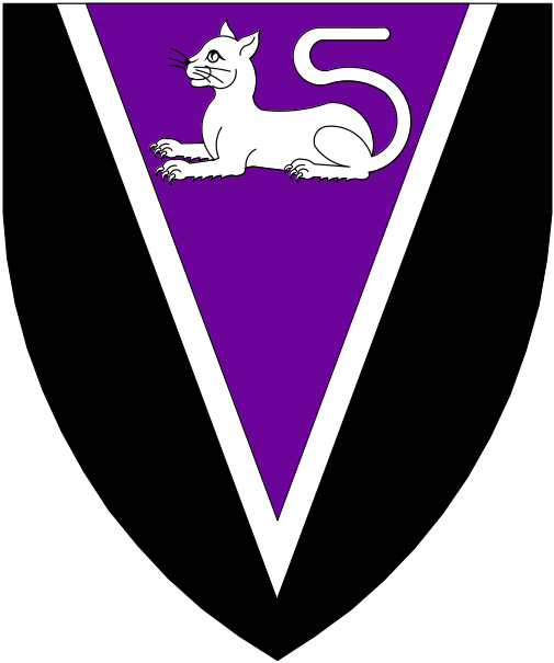 [Sable, on a pile purpure fimbriated a domestic cat couchant argent.]