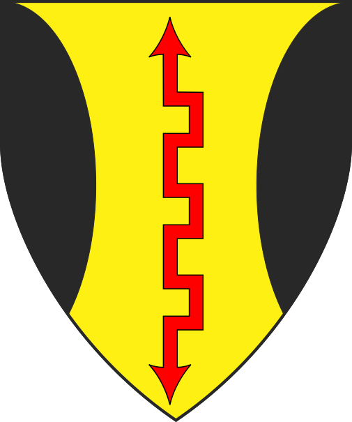 [Or, a lightning bolt palewise gules, flaunches sable]