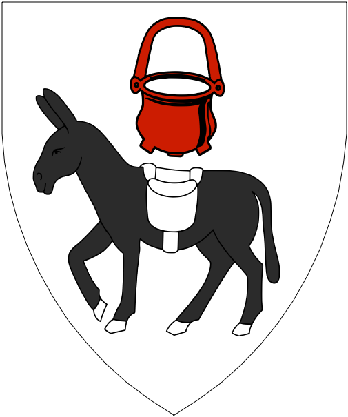 [Argent, an ass passant sable bearing a saddlebag argent, in chief a cauldron gules.]